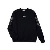 FILA NEWTRO MANIA 男女款黑色長袖圓領T恤-NO.1TEV-1400-BK