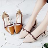 鞋子女包頭仙女涼鞋軟妹粗跟中跟平底羅馬女