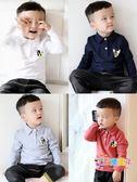 男童刷毛長袖翻領polo衫襯衫寶寶上衣秋冬裝打底衫白色體兒童T恤