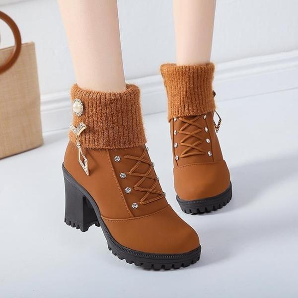 馬丁靴女2021新款秋款粗跟水鉆裝飾短靴女秋冬季中跟深色鞋女靴子 3C數位百貨