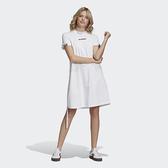 J-adidas RYV DRESS 女裝 短袖 長版 洋裝 休閒 側邊拉繩 抓皺 純棉 雙標 白 GJ6576