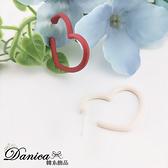 現貨 韓國少女氣質甜美百搭簡約撞色愛心不對稱925銀針耳環 S93748 批發價 Danica 韓系飾品 韓國連線
