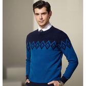 圓領針織衫-韓版羊毛百搭加厚格子新款男毛衣3色72k13[巴黎精品]