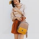 後背包-皮革韓版休閒時尚拼色女-雙肩包-4色73ni18【時尚巴黎】