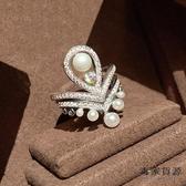 歐美925純銀疊戴組合戒指女時尚珍珠皇冠食指夸張【毒家貨源】