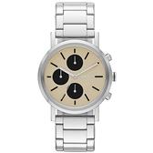 DKNY 搶眼定番都會三眼時尚腕錶-卡其x銀