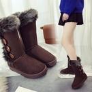 雪地靴 2020冬季加絨雪地靴女防滑棉鞋搭扣中高筒靴平底韓版學生保暖靴 小宅女