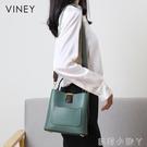 VINEY包包2020新款潮真皮時尚單肩斜挎女包百搭大容量手提水桶包 蘿莉新品