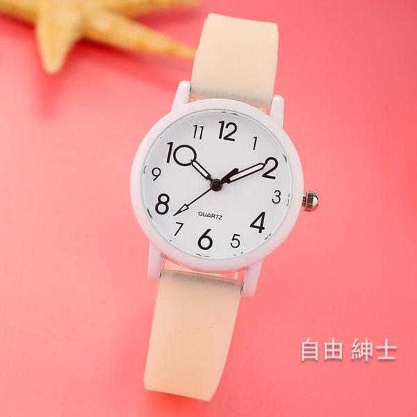 時尚潮流兒童手錶女孩學生可愛男孩中小學生考試電子夜光石英錶 1件免運