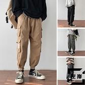 大碼工裝褲秋季男士寬鬆直筒褲束腳褲休閒褲【左岸男裝】