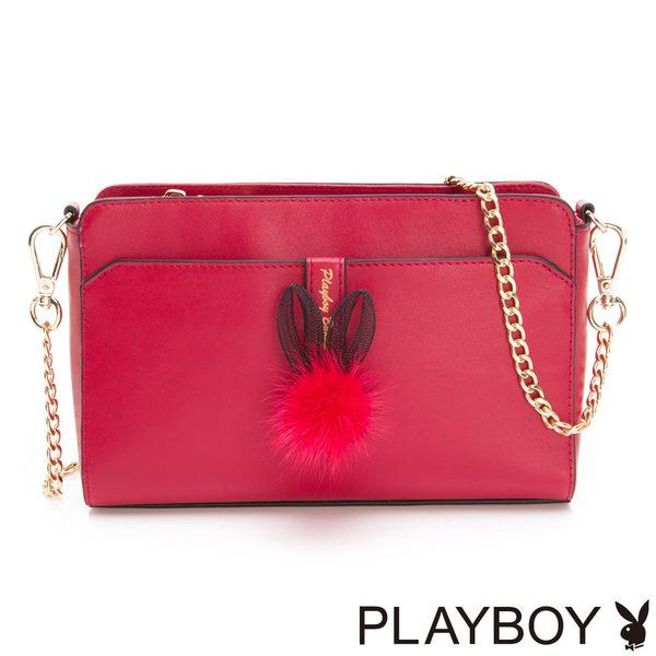 PLAYBOY- 鍊帶斜背包 跳躍毛毛兔系列-復古俏皮紅