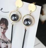 韓版 新款 耳飾品 時尚 誇張 幾何 立體 圈圈 耳釘 圓片 珍珠 長款 吊墜 耳環