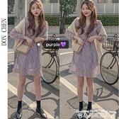 雪紡洋裝春裝2021年新款女復古紫色長袖顯瘦收腰小個子短款雪紡碎花連身裙 衣間迷你屋