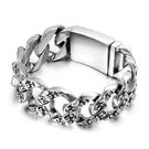 《 QBOX 》FASHION 飾品【BCE196】 精緻個性復古粗曠寬版龐克骷顱頭環扣鑄造鈦鋼手鍊/手環