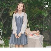 假兩件條紋拼接高含棉牛仔/丹寧襯衫領洋裝--適 XL~6L OrangeBear《DA7334》