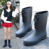 春秋新款時尚小馬靴套鞋輕便防滑水雨靴中筒水鞋膠鞋潮成人雨鞋女-Ifashion
