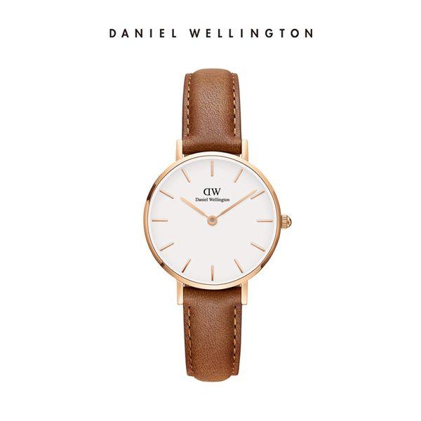 Daniel Wellington DW 手錶 28mm玫瑰金框 Classic Petite 淺棕真皮皮革錶