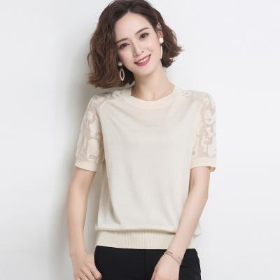 上衣 針織衫簡約百搭韓版短袖t恤夏裝媽媽女裝薄款蕾絲半袖冰絲針織衫上衣夏季T19依佳衣