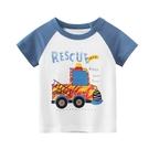 卡通消防車圖案短袖上衣 童裝 短袖上衣