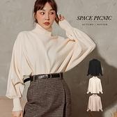 針織 Space Picnic|高領燈籠袖素面針織上衣(現貨)【C20114018】