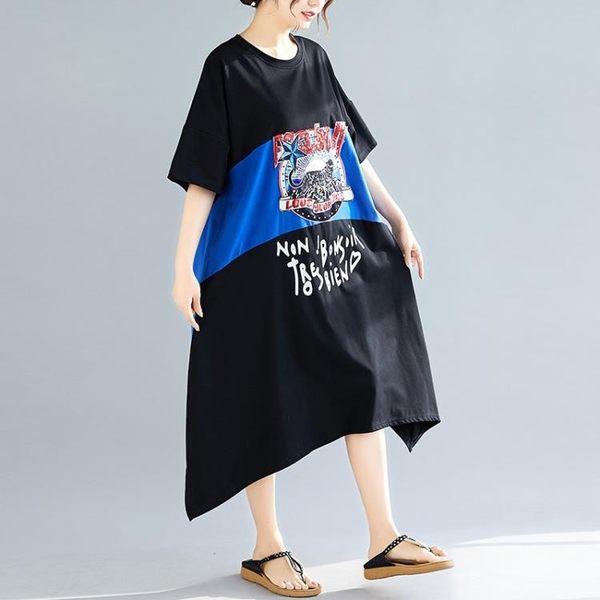 工廠直發不退換原創文藝大碼7247#大碼女裝韓版連衣裙女氣質寬松印花T恤裙子(定價650)(N801)