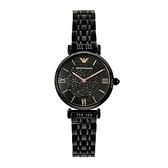 【Emporio Armani】美式經典羅馬時標個性晶鑽腕錶-耀眼黑/AR11245/台灣總代理公司貨享兩年保固