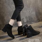 單款軟皮馬丁靴女英倫風方頭靴子女2021秋冬新款粗跟短靴中跟百搭 喜迎新春
