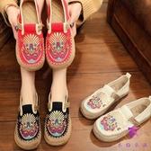 單鞋民族風女鞋 復古草編麻布鞋 繡花鞋 刺繡鞋