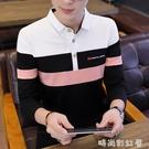 男士長袖t恤男裝秋季純棉翻領體桖韓版修身打底Polo衫有領子上衣「時尚彩紅屋」