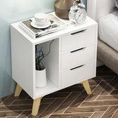 床頭櫃簡約現代儲物柜子多功能床頭收納柜歐式實木床邊柜 XY2210 【男人與流行】