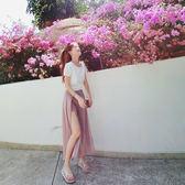 VK精品服飾 韓國風復古修身氣質時尚開叉寬口褲套裝短袖褲裝