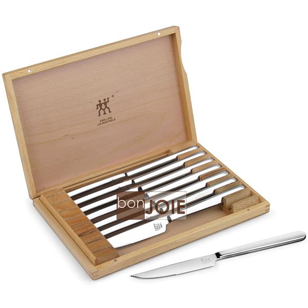 ::bonJOIE:: 德國雙人牌 不鏽鋼 牛排刀八件組 (含木製保存盒) ( 不銹鋼 刀子 德國雙人 雙人牌 )