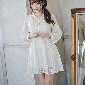 洋裝 小香風V領透膚長袖洋裝-Ruby s 露比午茶