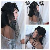 網紗頭飾花朵蕾絲色頭紗頭飾