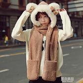 新款韓版圍巾女卡通萌妹子彷皮草蝴蝶結加厚帽子圍巾手套一體    原本良品