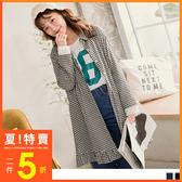 《DA5304》高含棉布蕾絲拼接袖小百褶下襬格紋長版洋裝/外套 OrangeBear