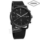 FOSSIL / FS5504 / 時尚酷黑 礦石強化玻璃 三眼計時 日期 日本機芯 真皮手錶 黑色 42mm