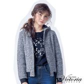 Victoria 文字飾釘異材質拼接短袖T-女-黑色