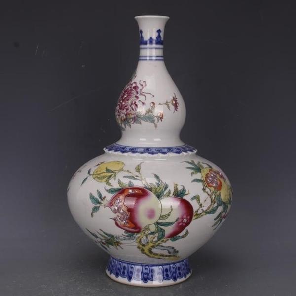 清乾隆青花斗彩福壽三多葫蘆瓶仿古老貨瓷器家居中式擺件古玩收藏1入