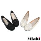 【Miaki】MIT 少淑女風蕾絲拼接布料平底包鞋娃娃鞋