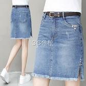 彈力高腰a字裙半身裙中長款寬鬆牛仔裙夏季新款裙子女