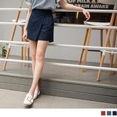 《BA4927-》純色不規則設計腰鬆緊棉麻短褲褲裙 OB嚴選