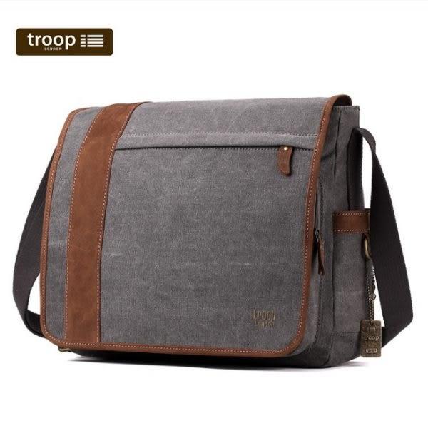 "TROOP 英國 帆布包 簡約質感HERITAGE電腦斜背包14"" 黑色 筆電包-TRP0305"