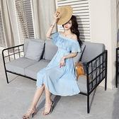 VK旗艦店 韓國風一字領名媛雪紡長裙壓褶吊帶短袖洋裝