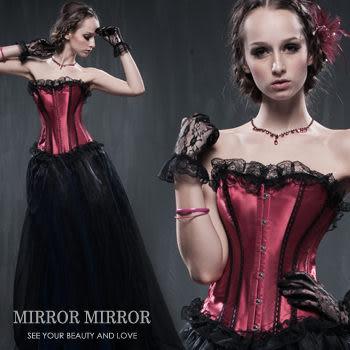 馬甲 賽維亞紅宮庭式塑身馬甲-束身、表演服_蜜桃洋房