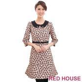 【RED HOUSE-蕾赫斯】七分袖滿版花朵圓領腰帶洋裝(共二色)