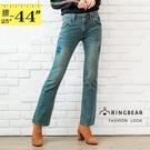 牛仔褲--不當小腹人!雙釦寬褲頭細長腿刷黃中腰小喇叭牛仔褲(牛仔藍S-7L)-N35眼圈熊中大尺碼
