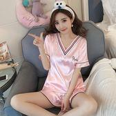 真絲夏天睡衣女夏季套裝正韓可愛寬鬆可外穿絲綢短袖冰絲兩件套M-2XL