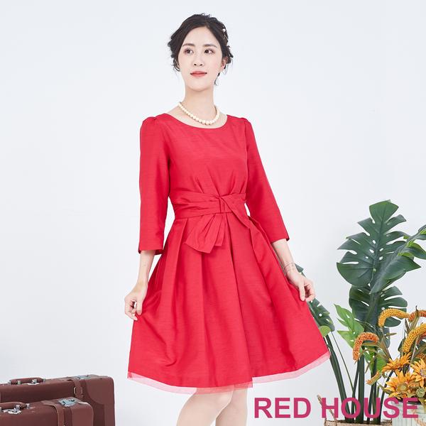 【RED HOUSE 蕾赫斯】素面蝴蝶結洋裝(共兩色)