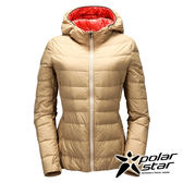 PolarStar 女 超輕連帽羽絨外套『卡其』P17252 夾克│休閒│登山│露營│羽絨│禦寒│保暖│冬天